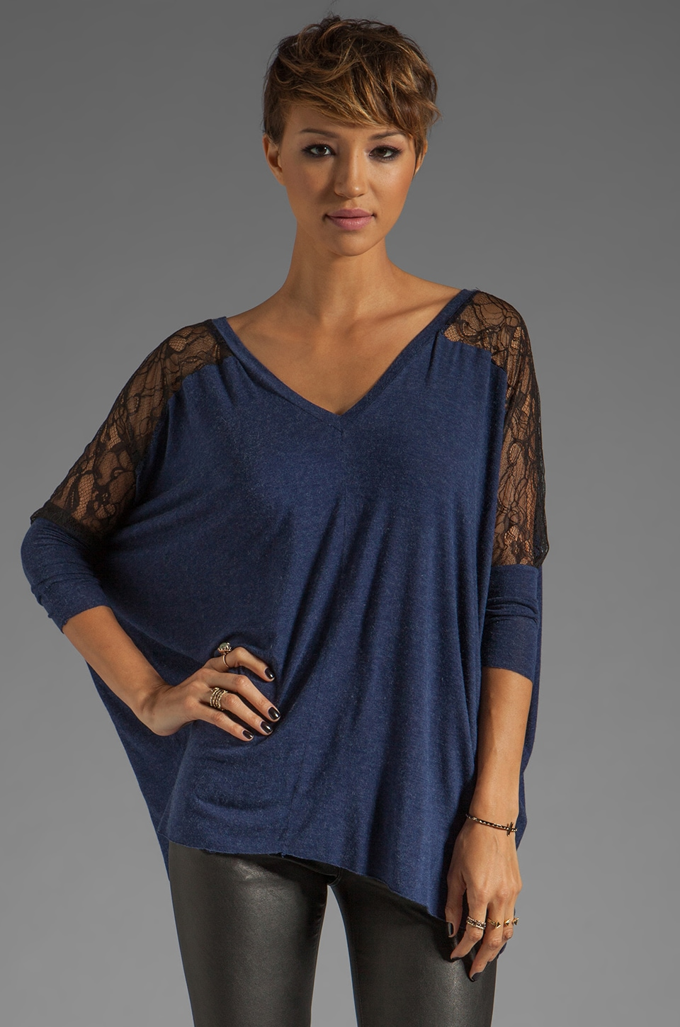 dolan Long Sleeve Oversized Tee with Lace in Goodnight