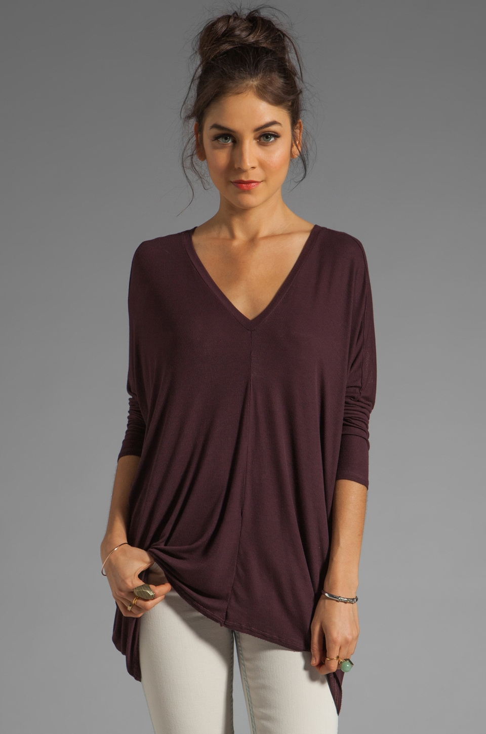 dolan 2x1 Rib 3/4 Sleeve Square Tee in Mystic Purple