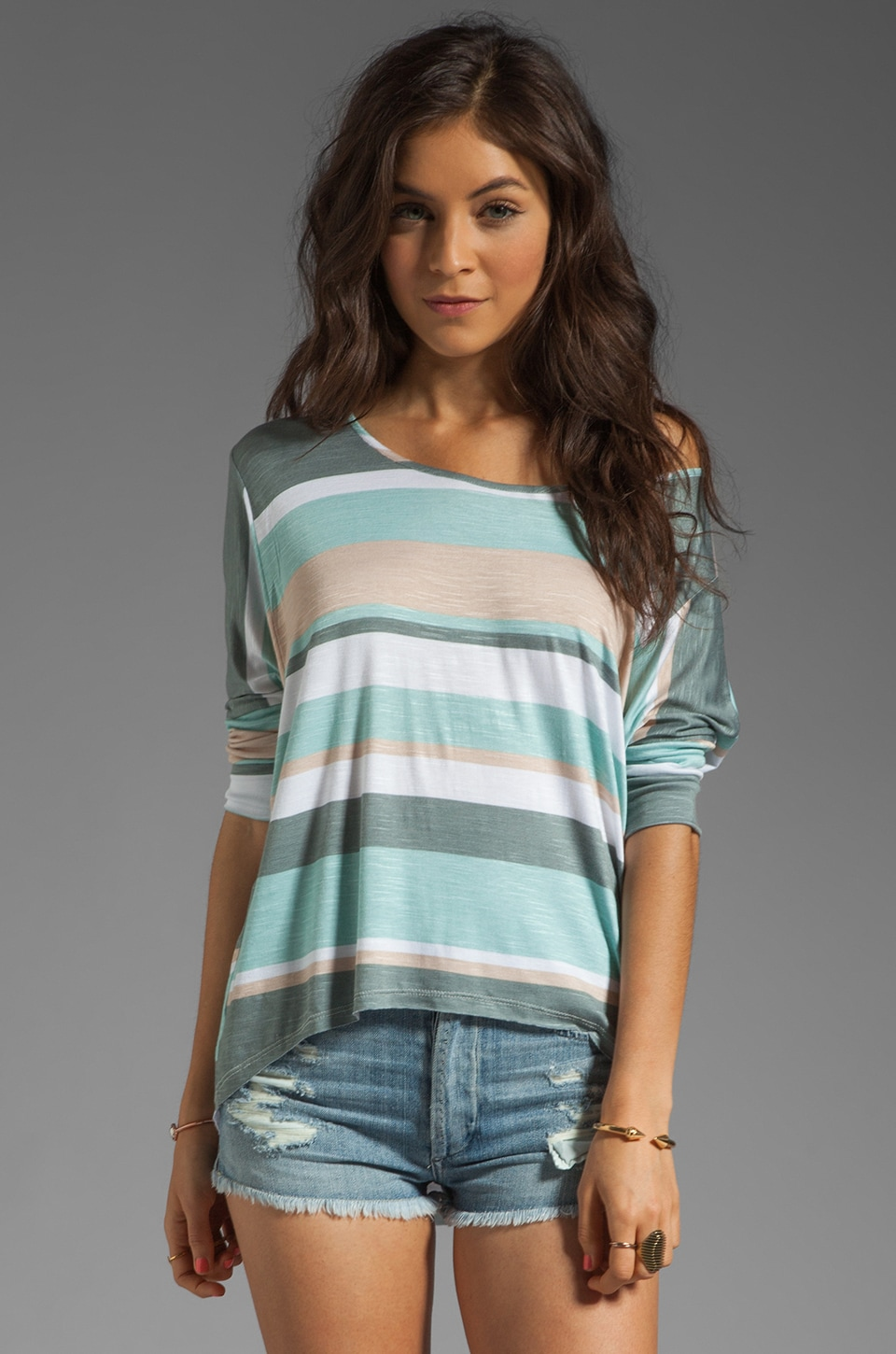 dolan Slub Jersey Oversized Tee in Lake Hollywood Stripe