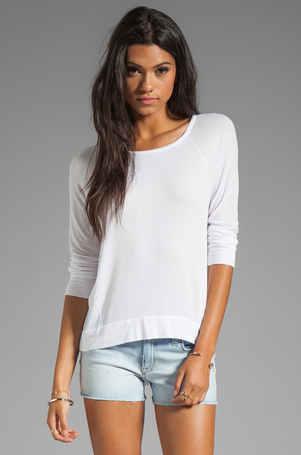 dolan 2x1 Rib Raglan Long Sleeve Tee in White