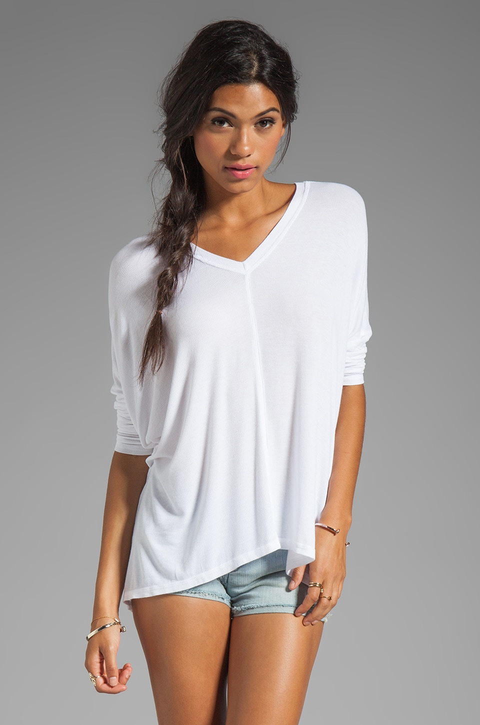 dolan 2x1 Rib Oversized Square Tee in White