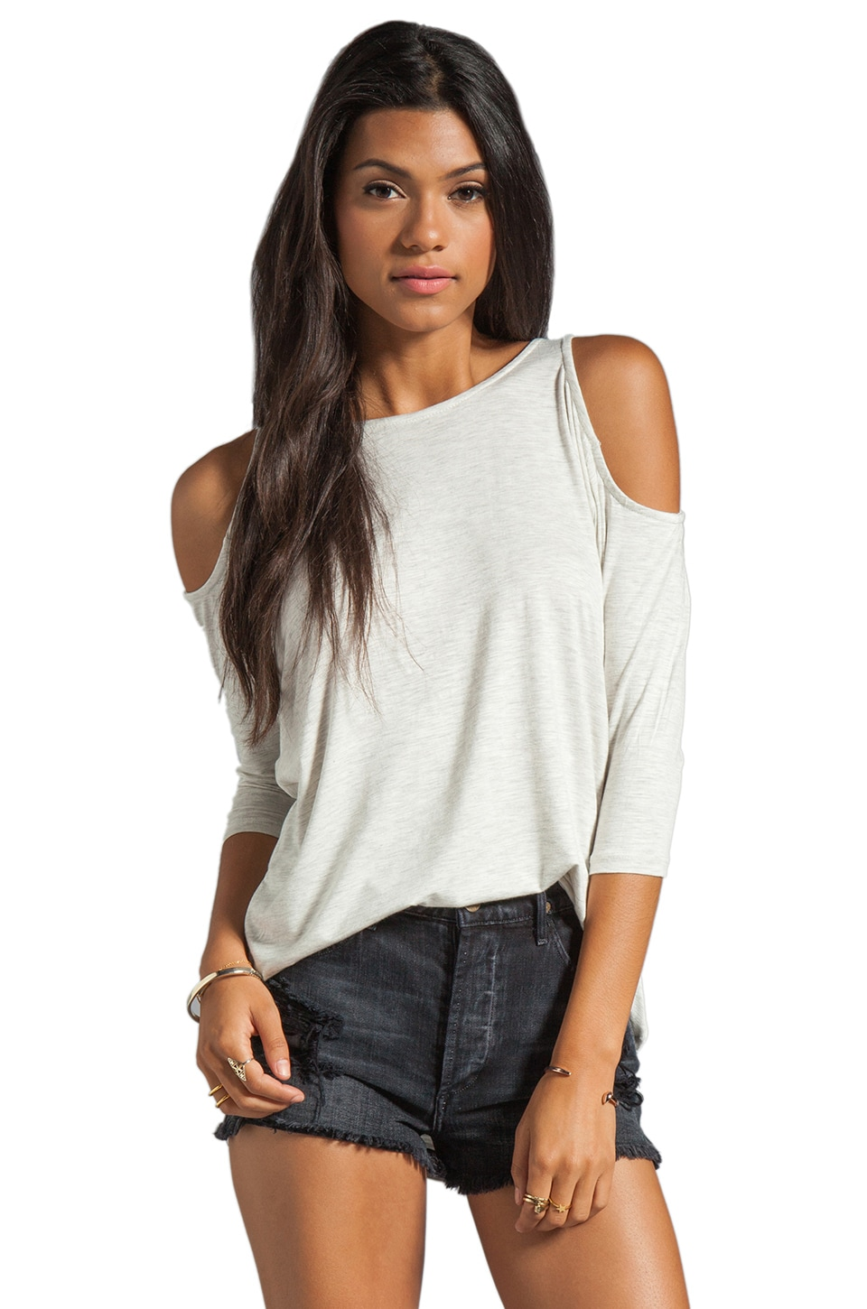 dolan Classic Slub Open Shoulder Tee in Bleach