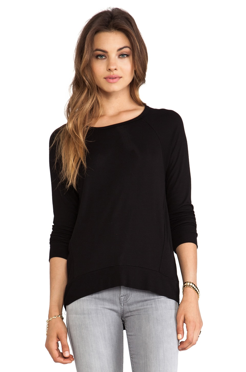 dolan 2x1 Rib Raglan Long Sleeve Tee in Black