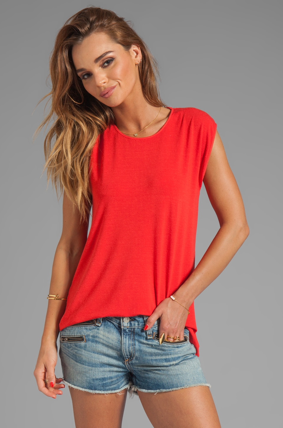 dolan Silk Blend Asymmetrical Muscle Tee in Sunrise