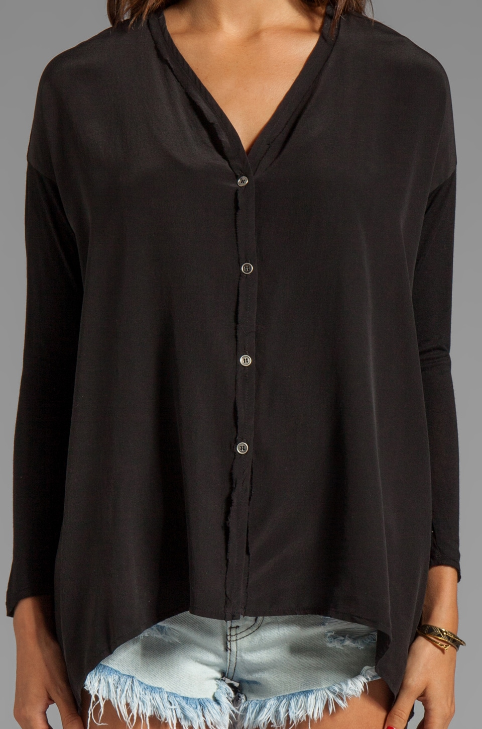 dolan Mixed Media Oversized Button Down Tee in Black