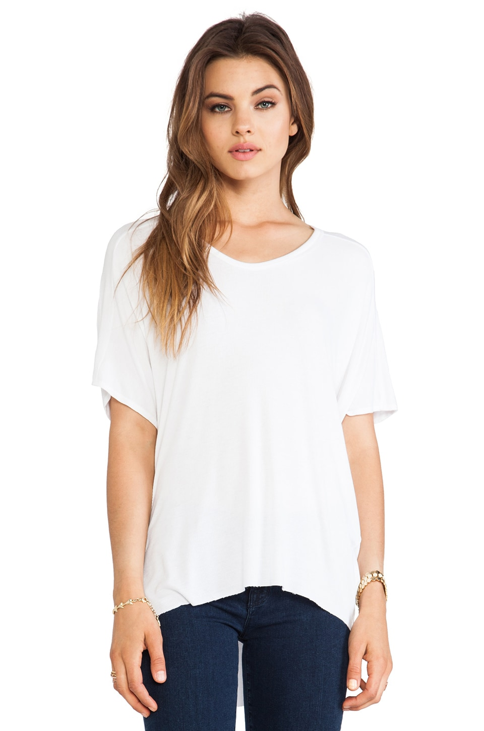 dolan Short Sleeve High Low Tee in White