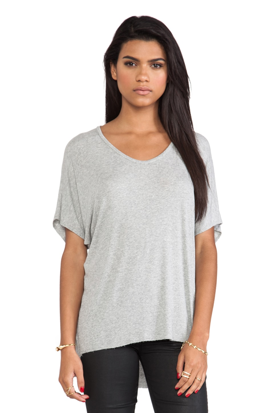 dolan Short Sleeve High Low Tee in Silver