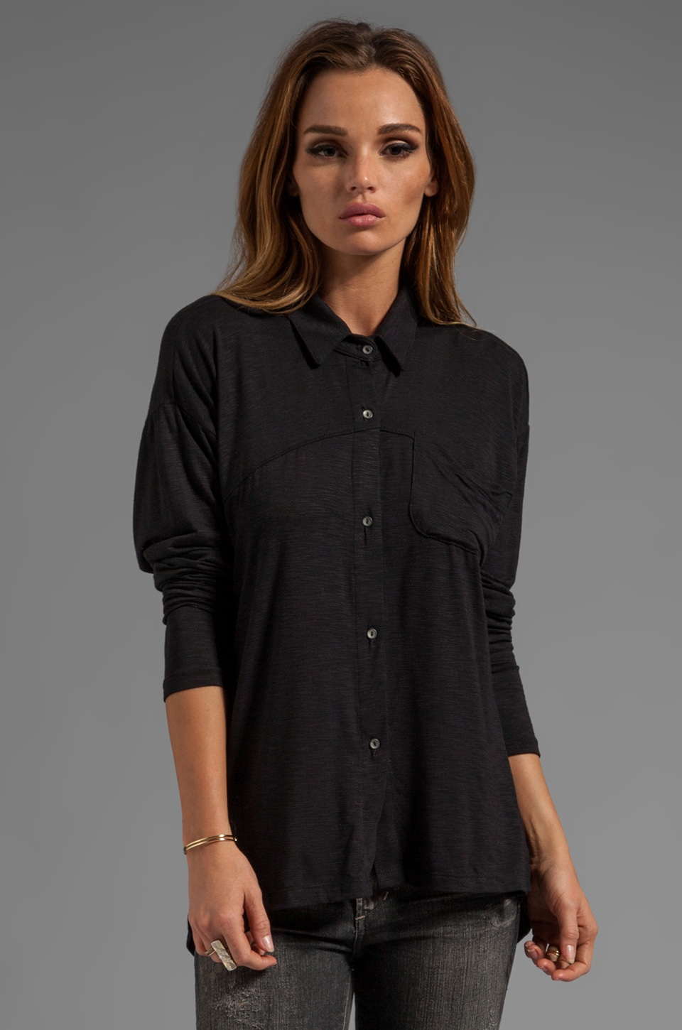dolan Long Sleeve Classic Collar Slouchy ButtonDown in Black