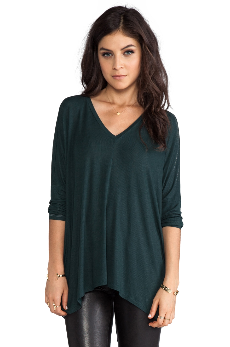 dolan 3/4 Sleeve Oversize Square Tee in Emerald