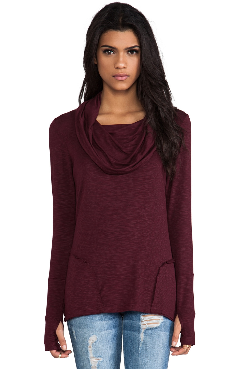 dolan Cowl Neck Long Sleeve in Burgundy