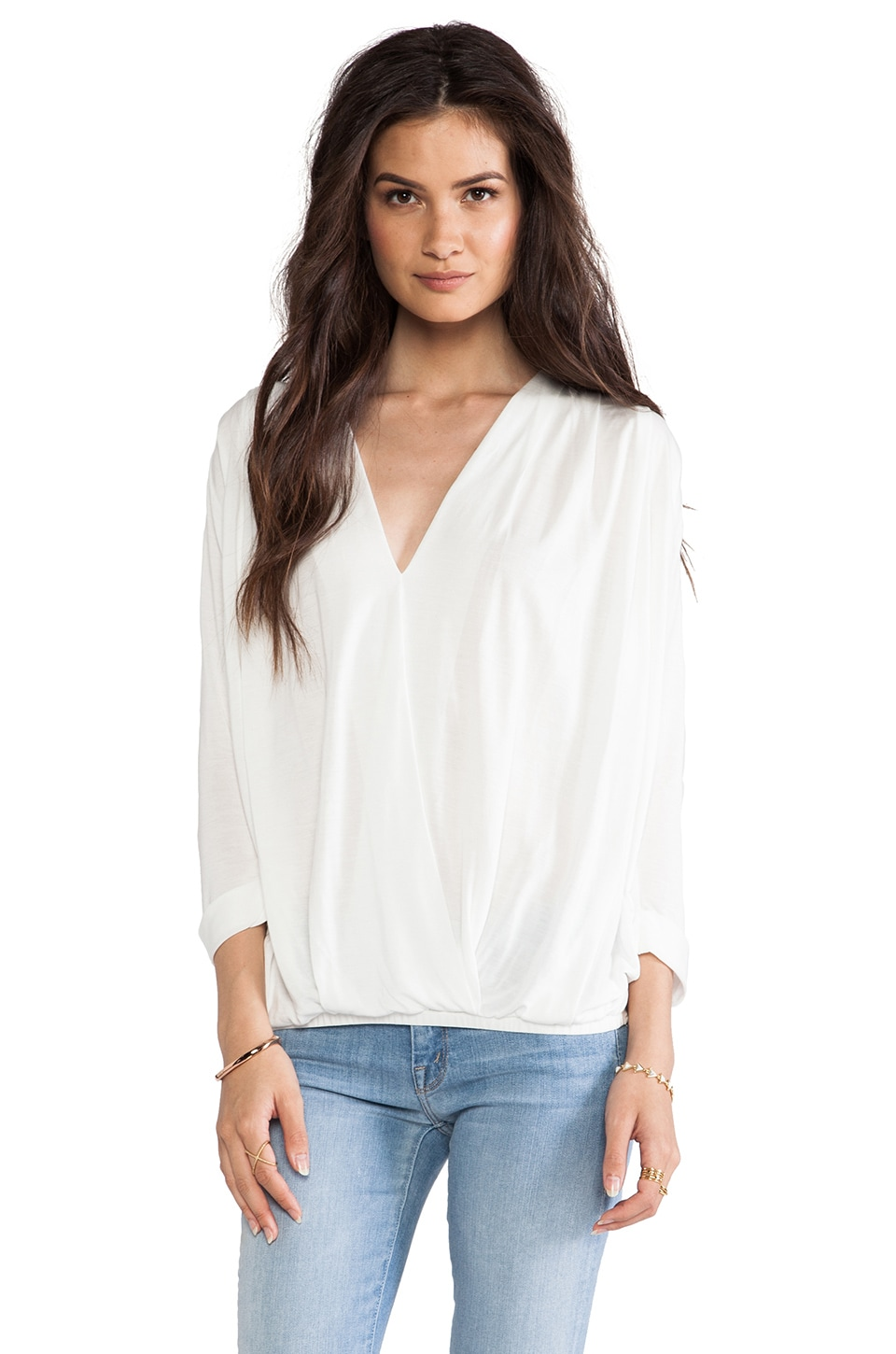 dolan Rolled Sleeve Cross Front Blouse in Ivory