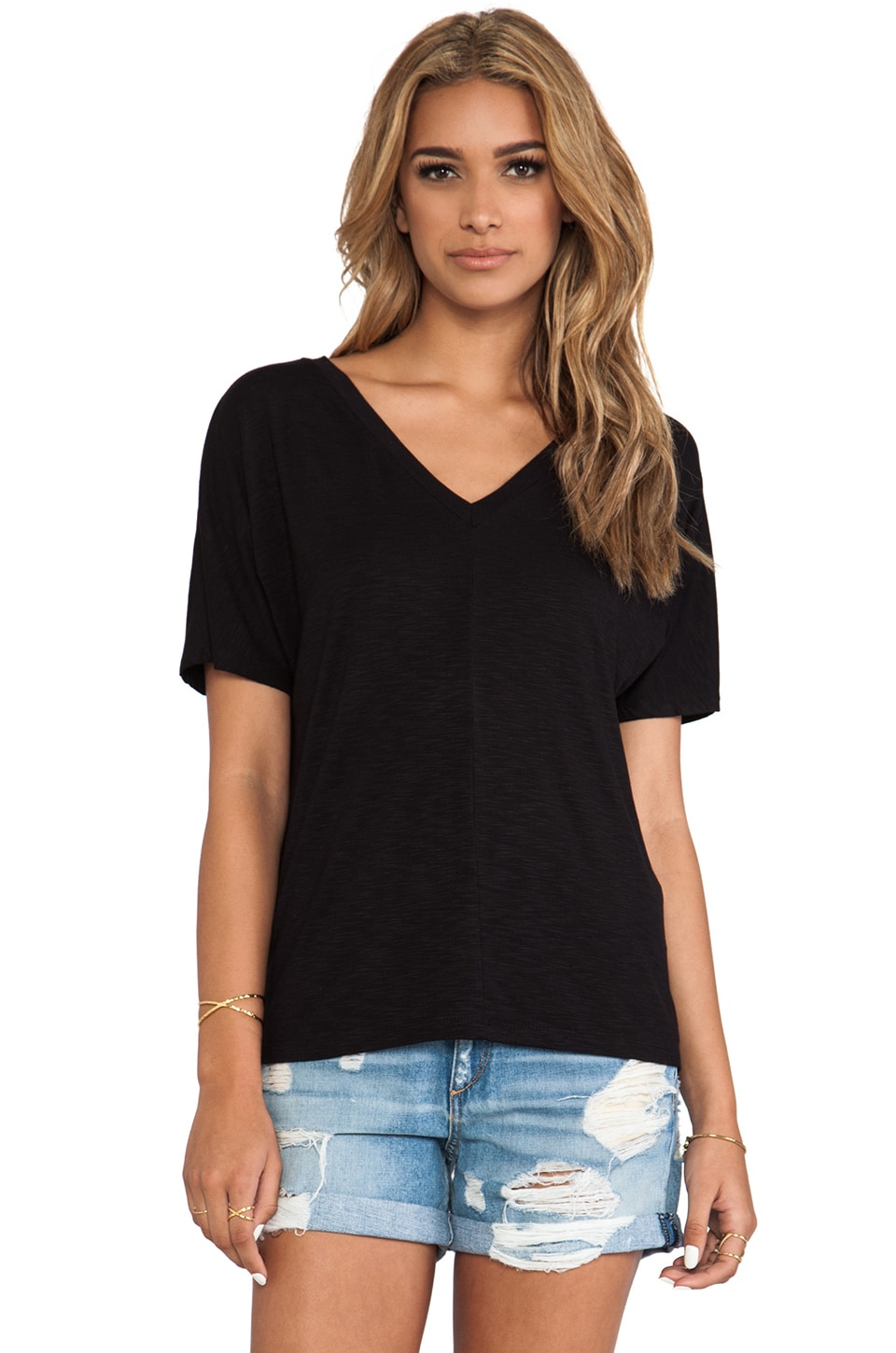 dolan Double V Boyfriend Tee in Black