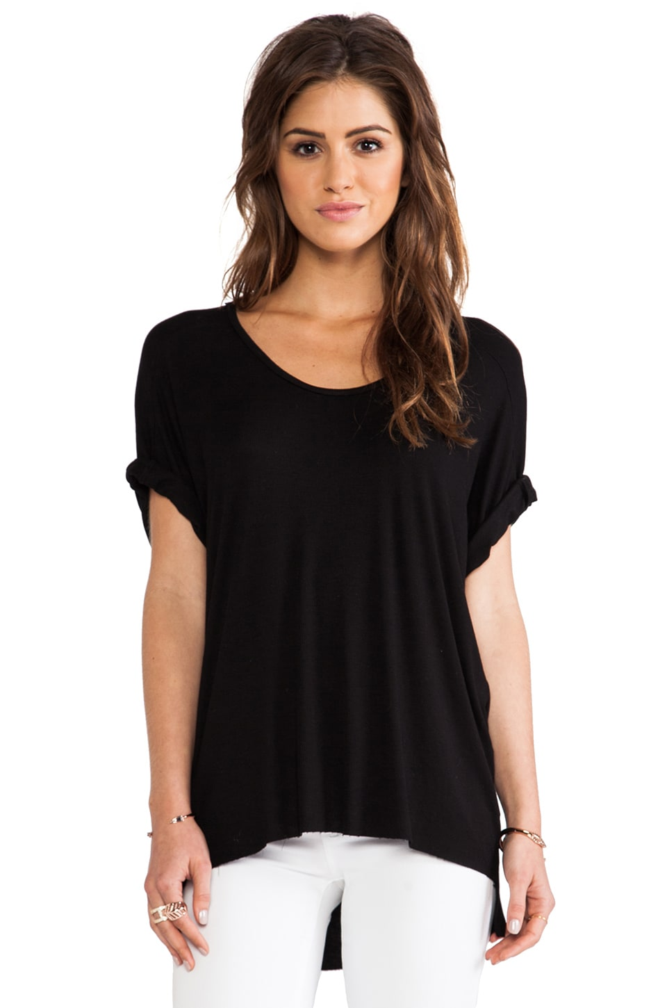 dolan Dolman Sleeve High Low Tee in Black