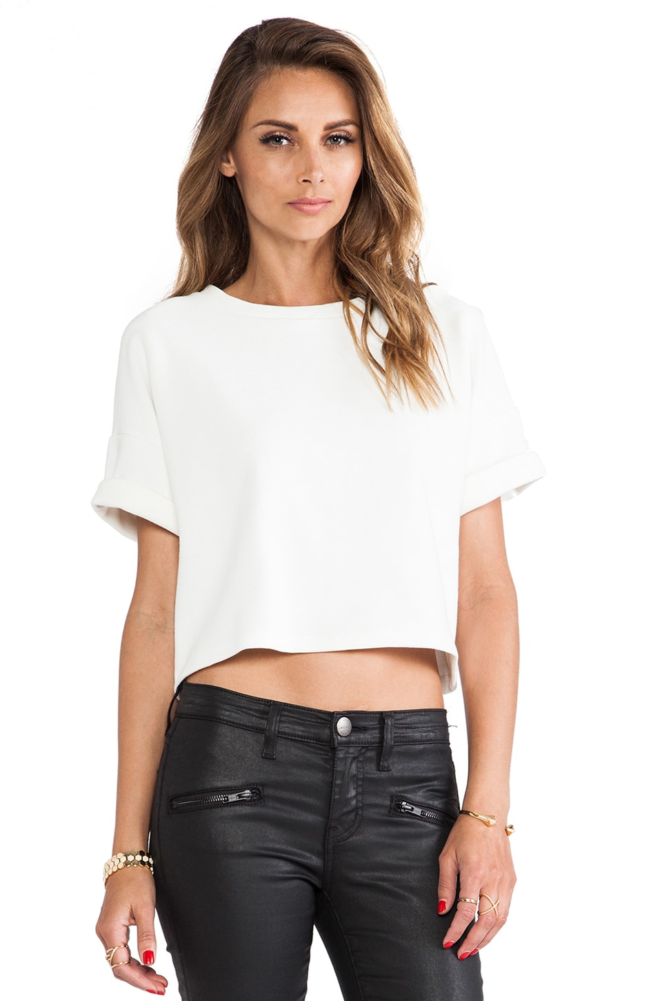 dolan Crewneck Crop Top in Chalk