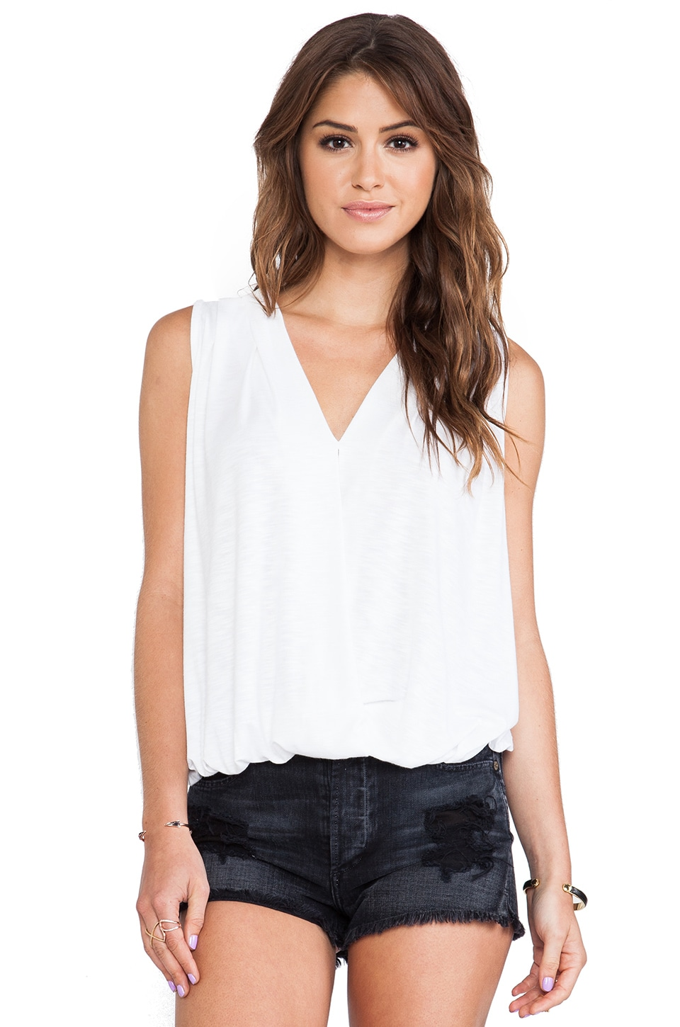 dolan Sleeveless Cross Front Top in Ivory