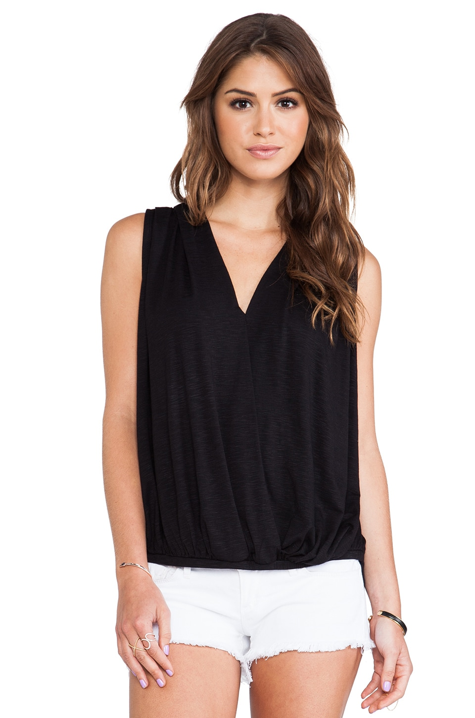 dolan Sleeveless Cross Front Top in Black