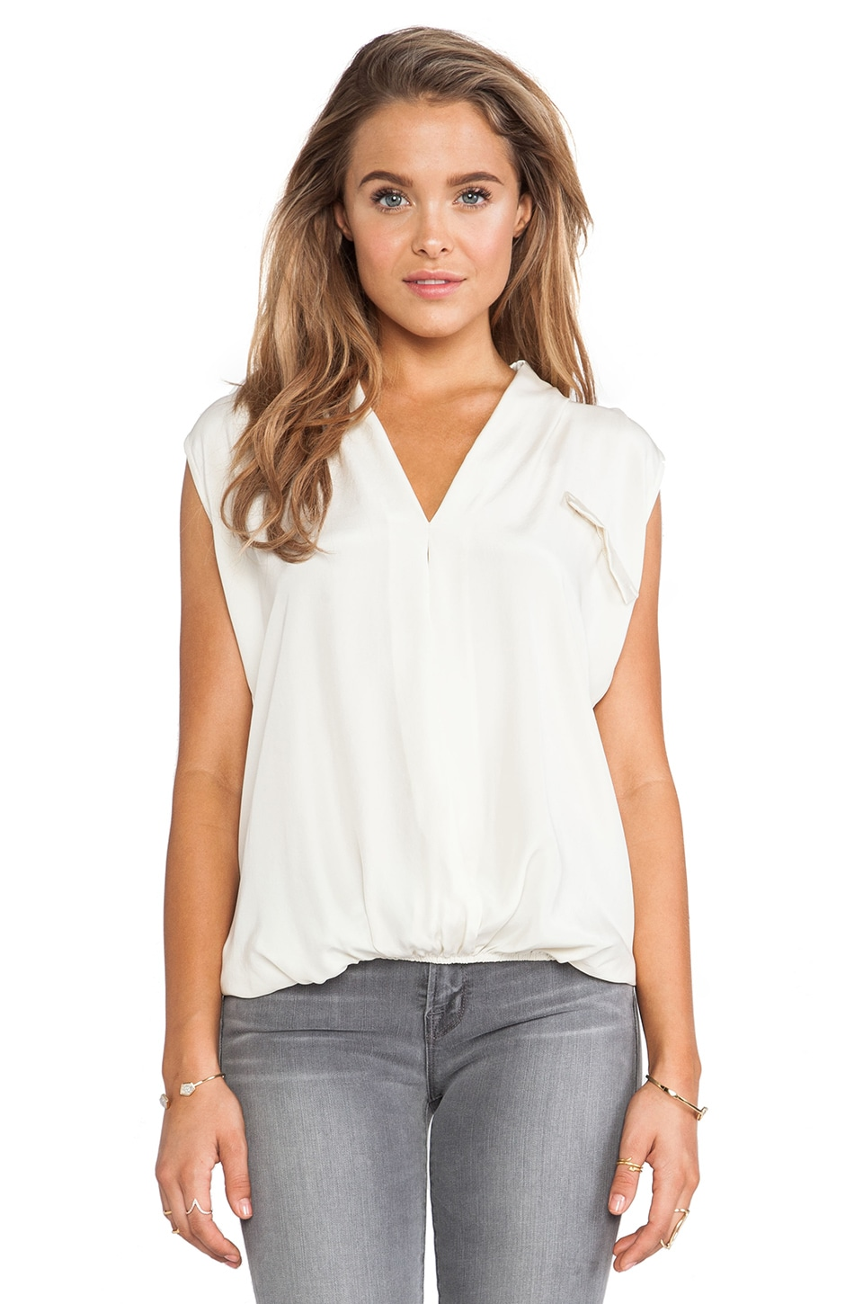 dolan Sleeveless Cross Front Top in Stone