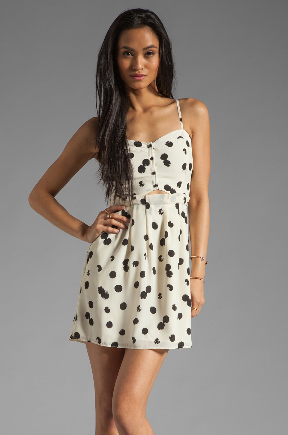 Dolce Vita Adisa Drip Dot Tank Dress in Black/White