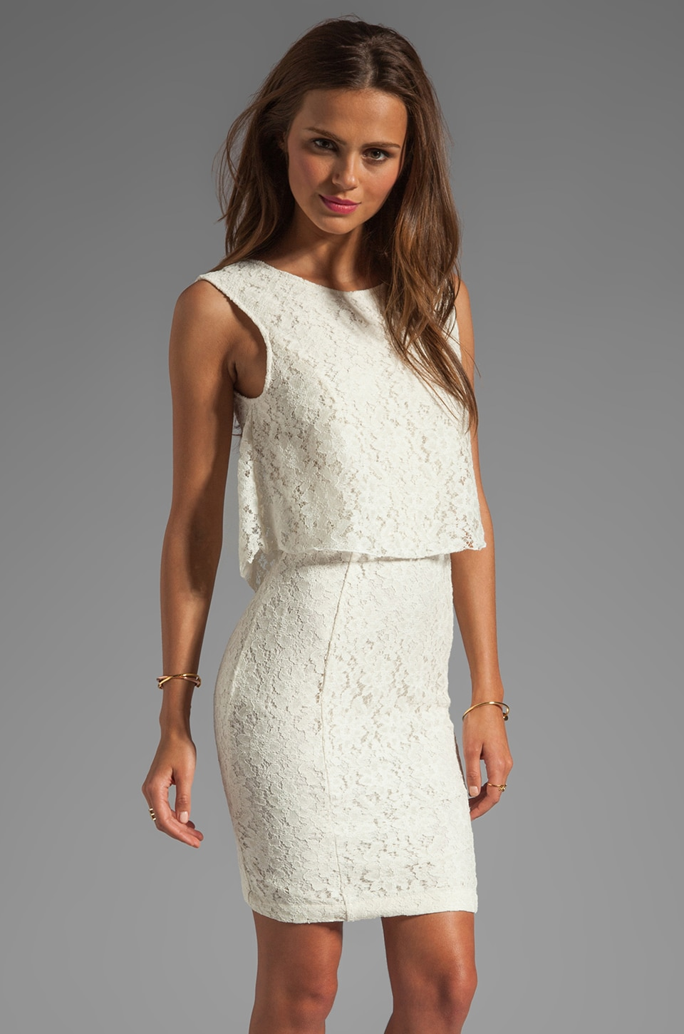 Dolce Vita Glaudusa Raised Lace Tank Dress in Cream