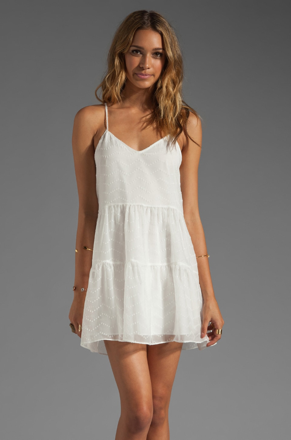 Dolce Vita Amalia Zigzag Dobby Tank Dress in White