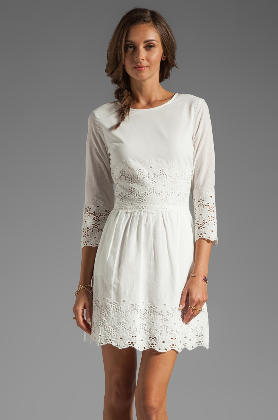Dolce Vita Val Hem Daisy Long Sleeve Dress in White