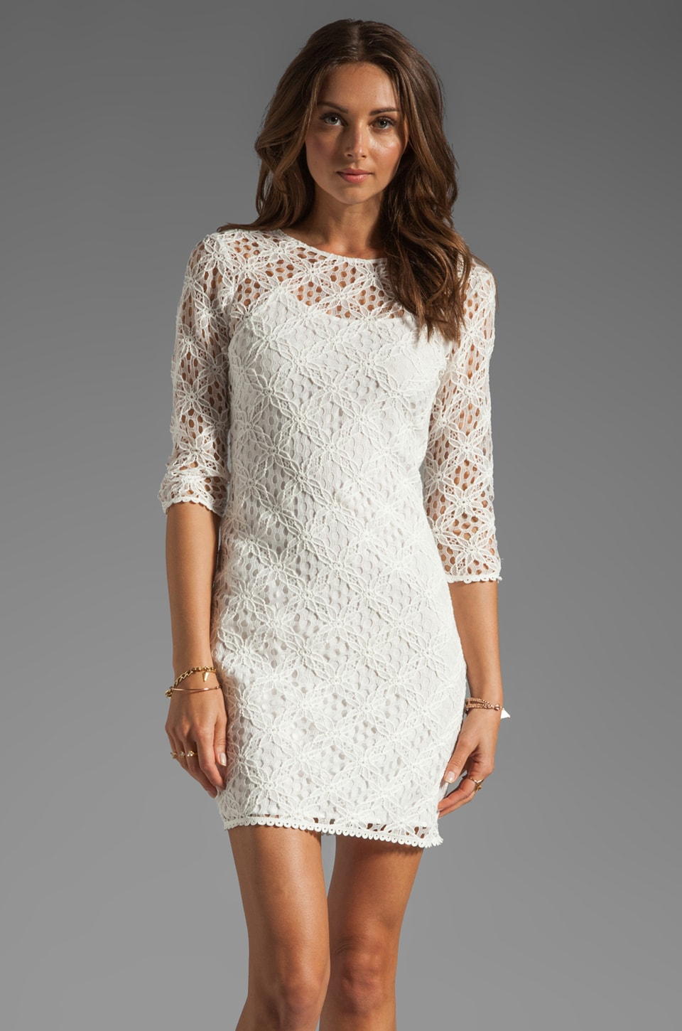 Dolce Vita Cat Crochet Lace Long Sleeve Dress in White