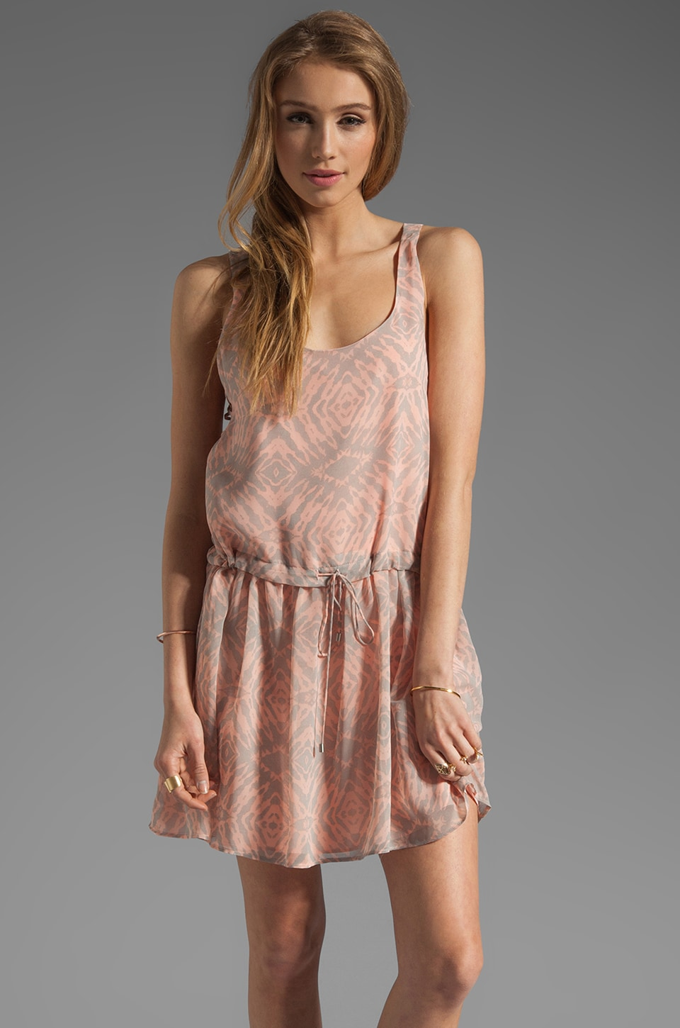 Dolce Vita Betrys Tie Dye Tank Dress in Coral/Grey