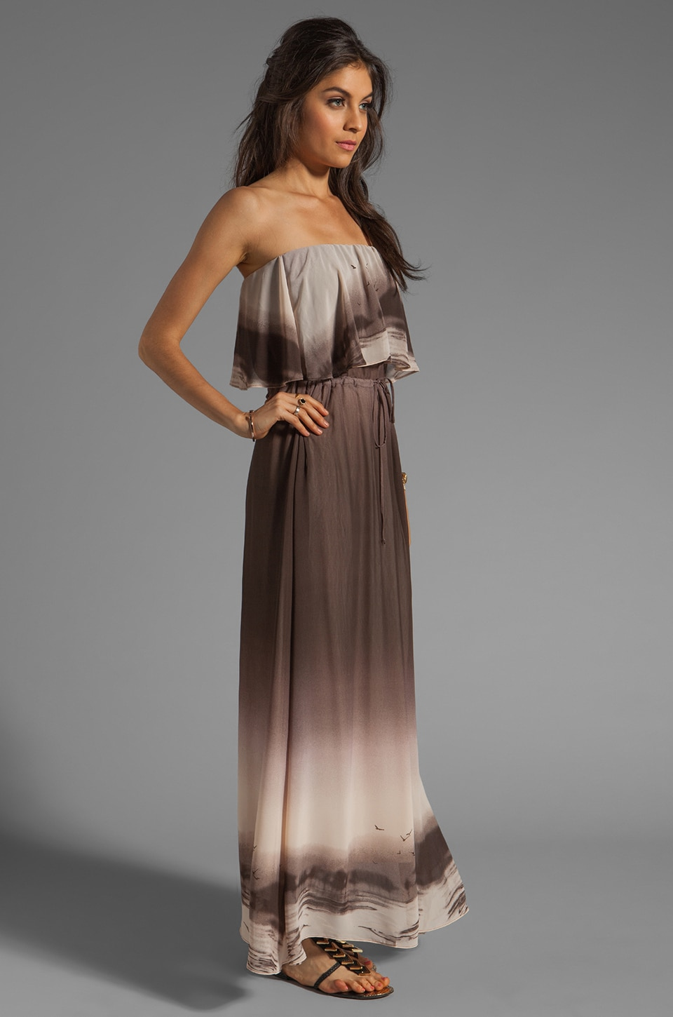 Dolce Vita Fonda Beachscape Strapless Maxi Dress in Brown