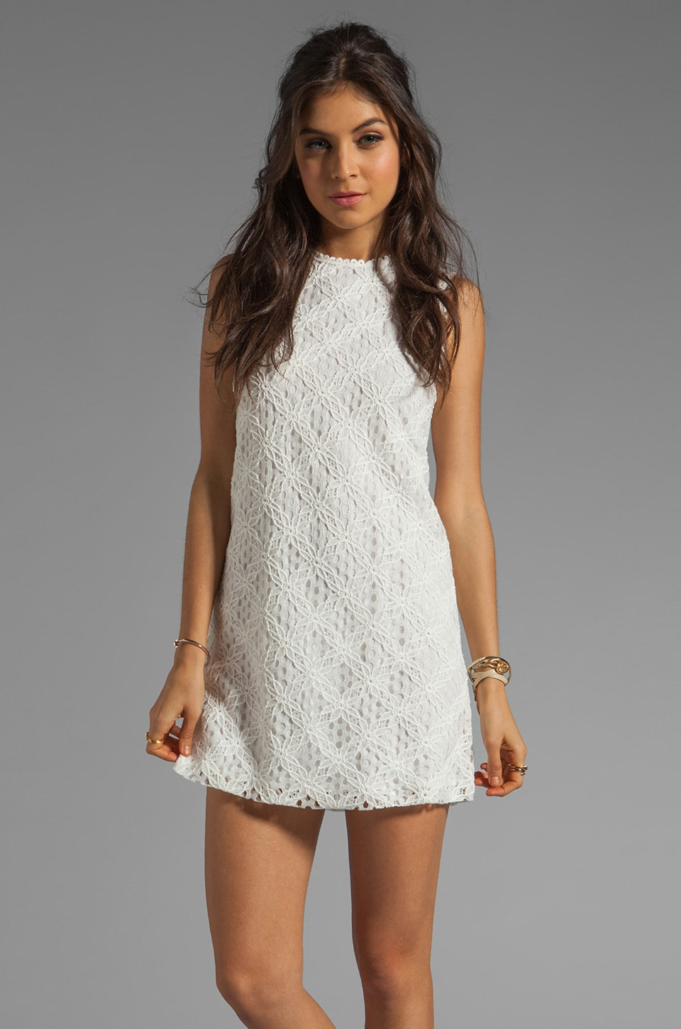 Dolce Vita Olie Crochet Lace Tank Dress in White