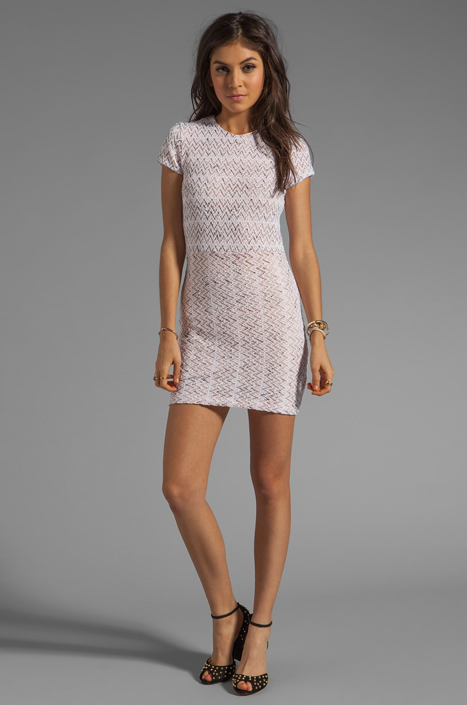 Dolce Vita Ren Zigzag Crochet Short Sleeve Dress in White
