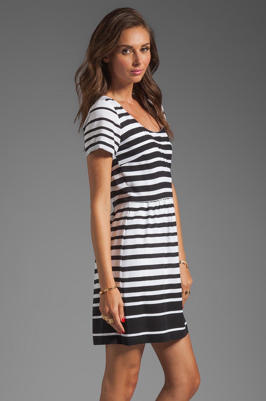 Dolce Vita Adelaide Ascending Stripe T-Shirt Dress in Black/White