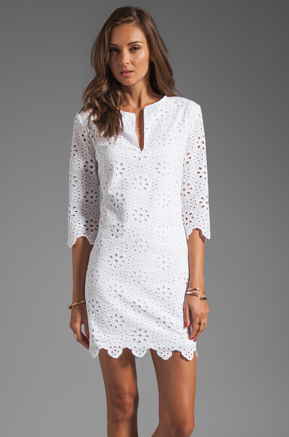 Dolce Vita Charlene Daisy Embroidery Long Sleeve Dress in Snow