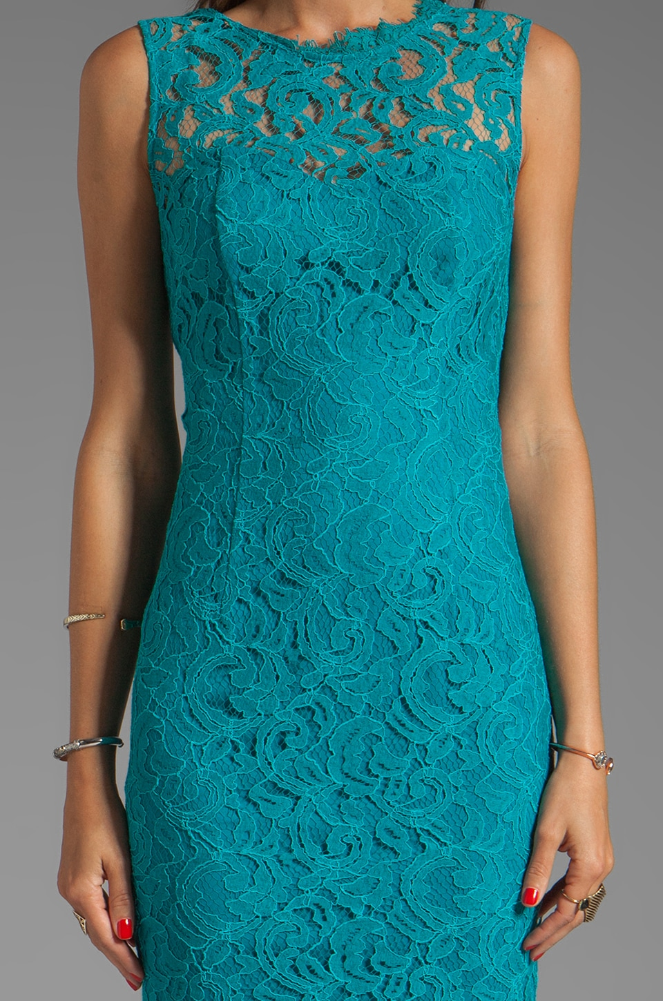 Dolce Vita Tamia Teal Lace Tank Dress in Teal