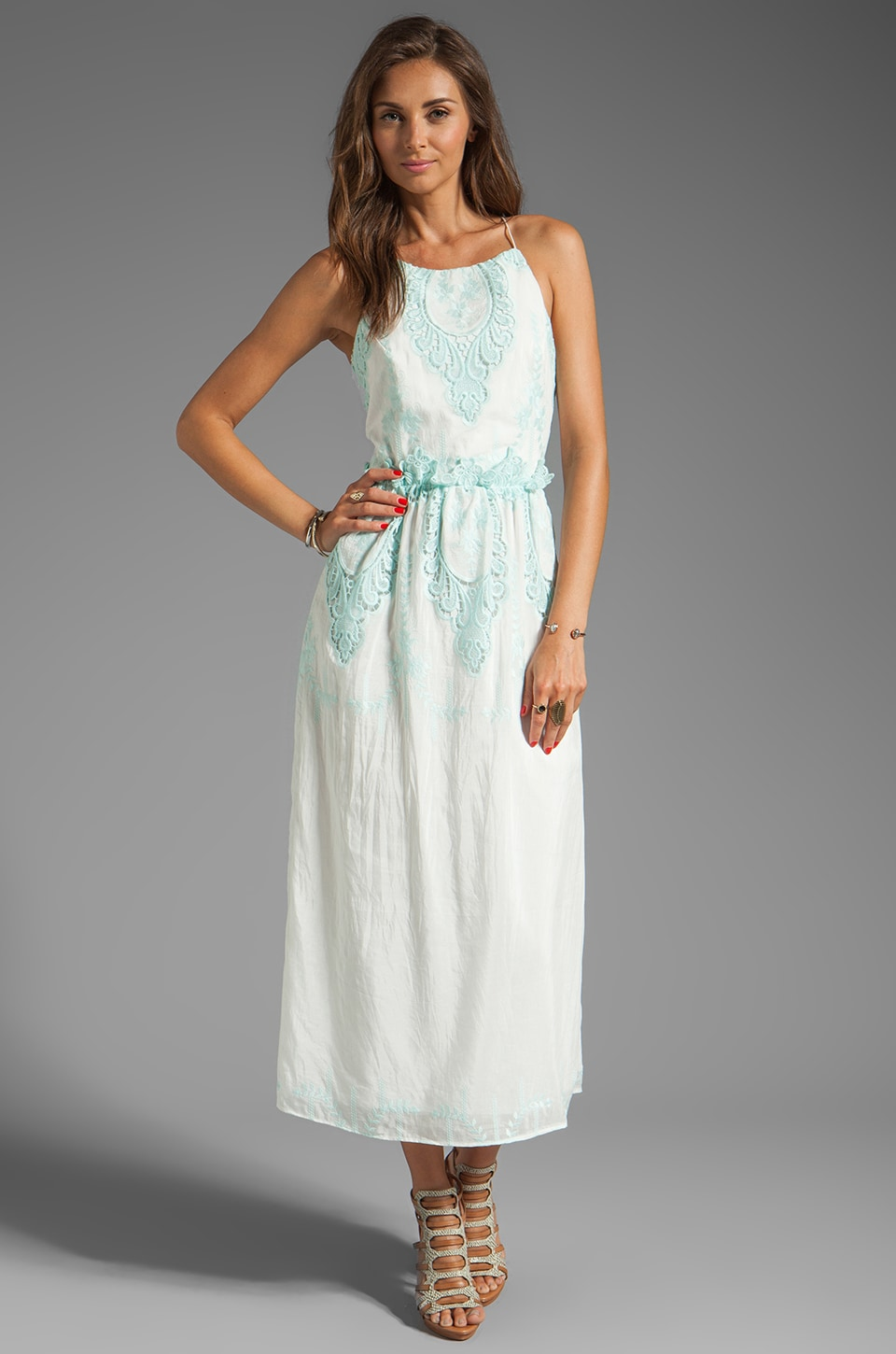 Dolce Vita Rayan Petticoat Embroidery Maxi Dress in White/Mint