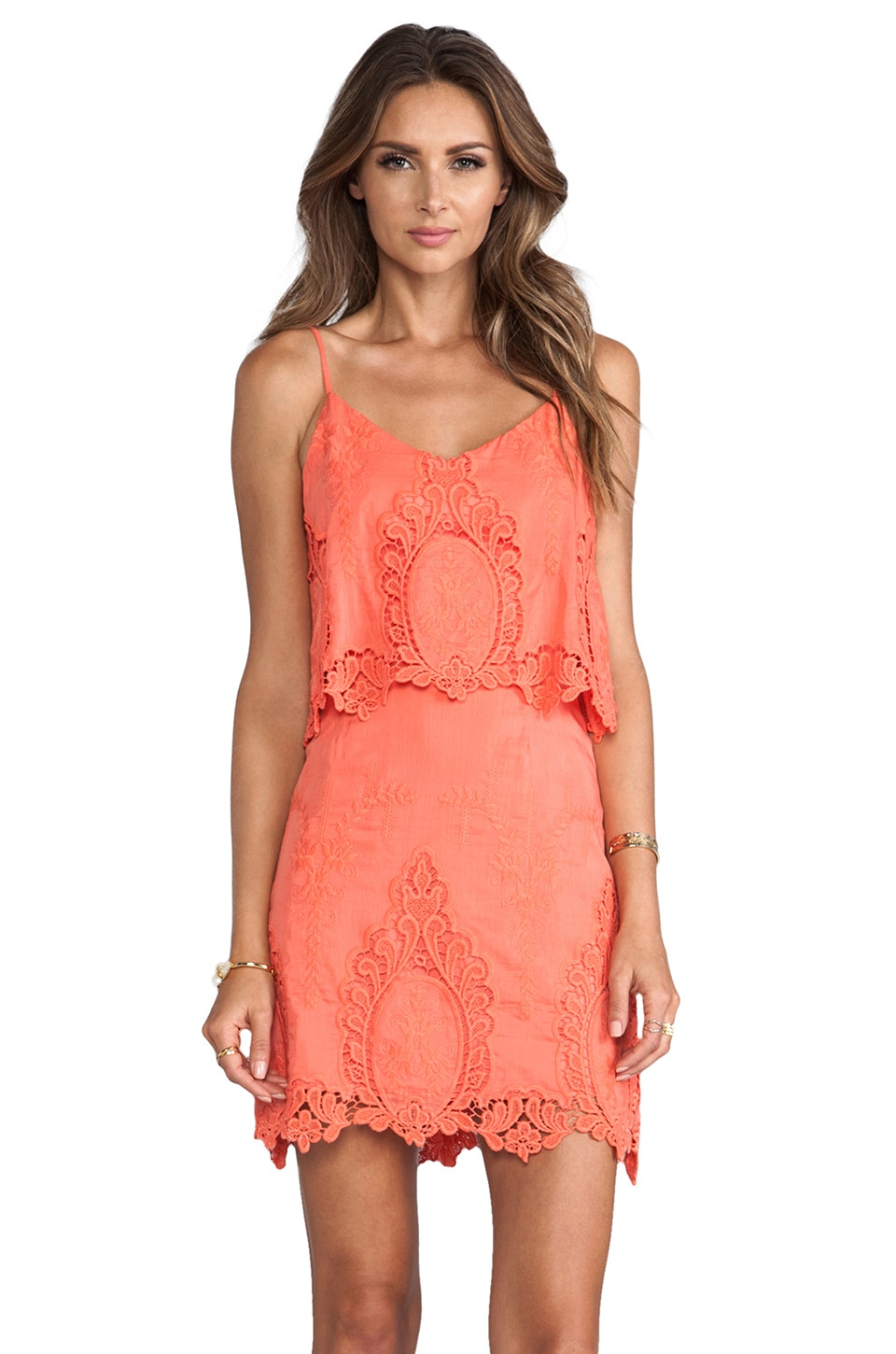 Dolce Vita Jeralyn Petticoat Embroidery Mini Dress in Melon