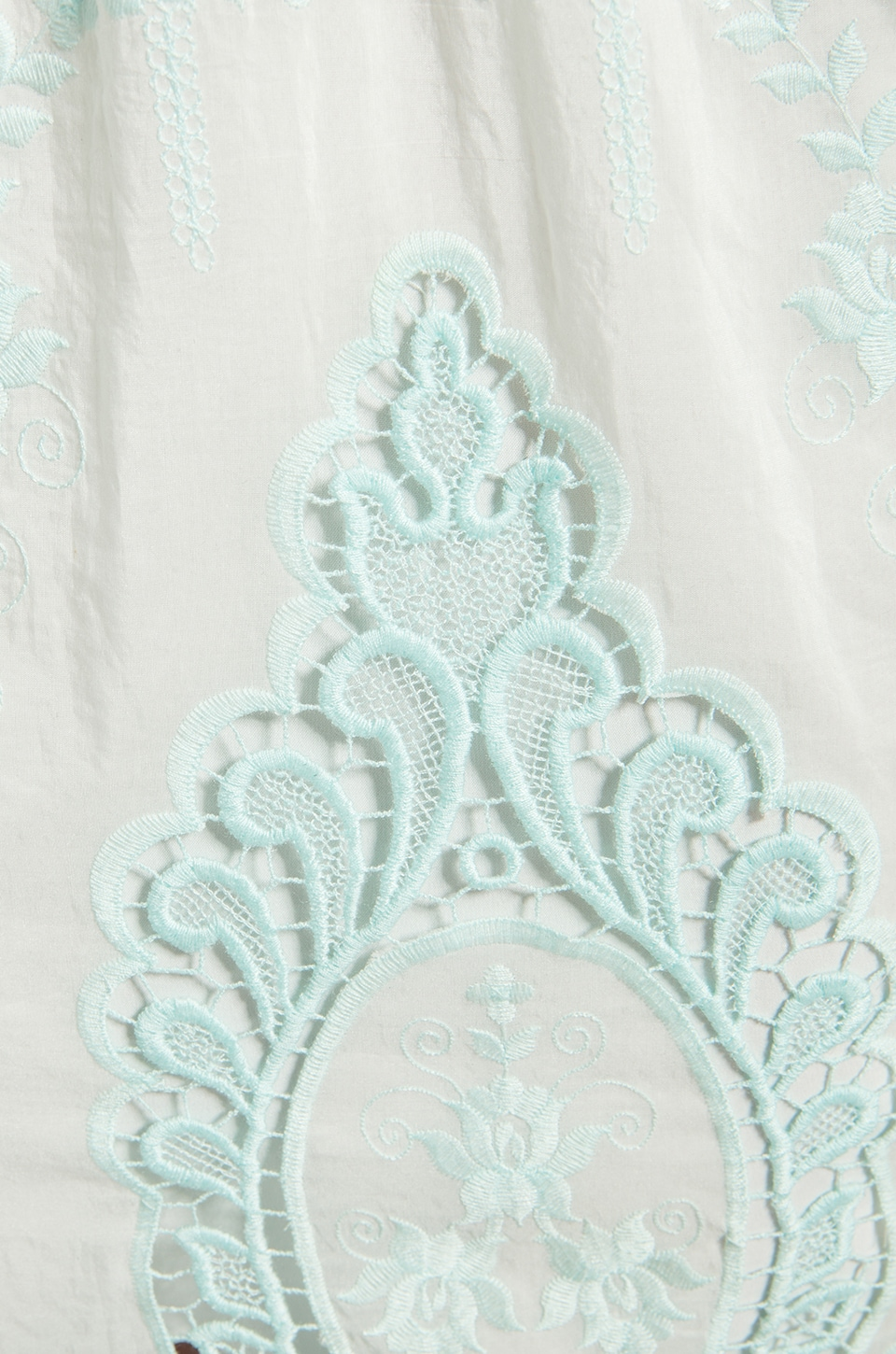 Dolce Vita Valentina Petticoat Embroidery Long Sleeve Dress in White/ Mint