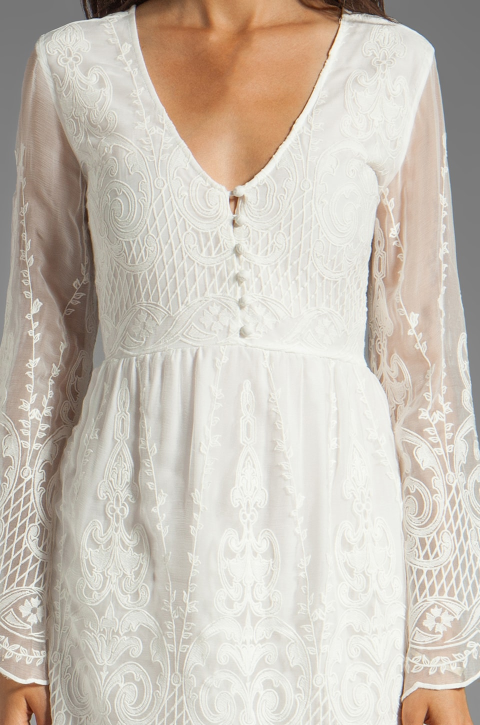 Dolce Vita Jilisa Silk Embroidery Long Sleeve Mini Dress in Snow