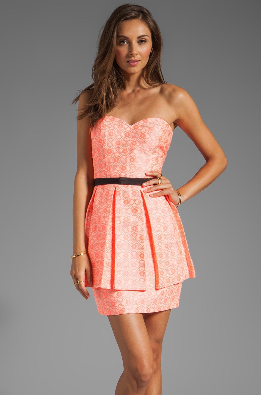 Dolce Vita Amica Neon Tapestry Strapless Dress in Neon Coral