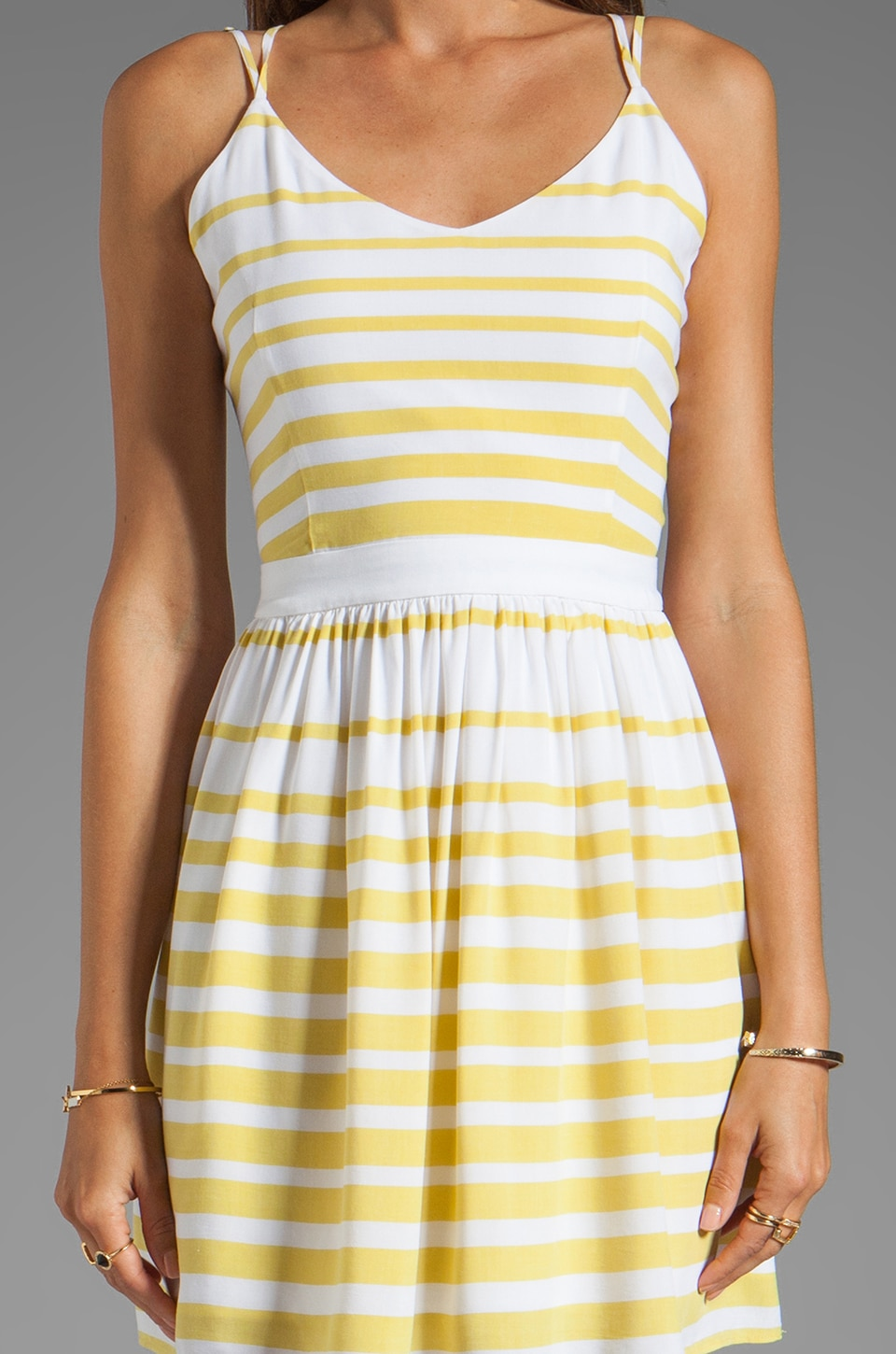 Dolce Vita Hanni Ascending Stripe Mini Dress in Yellow/White