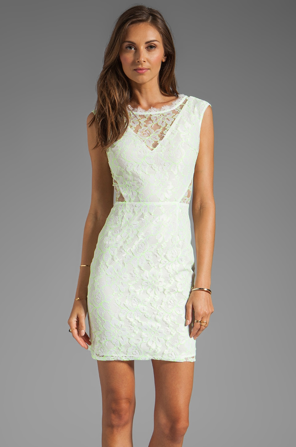 Dolce Vita Trouble Neon Lace Dress in White/Yellow
