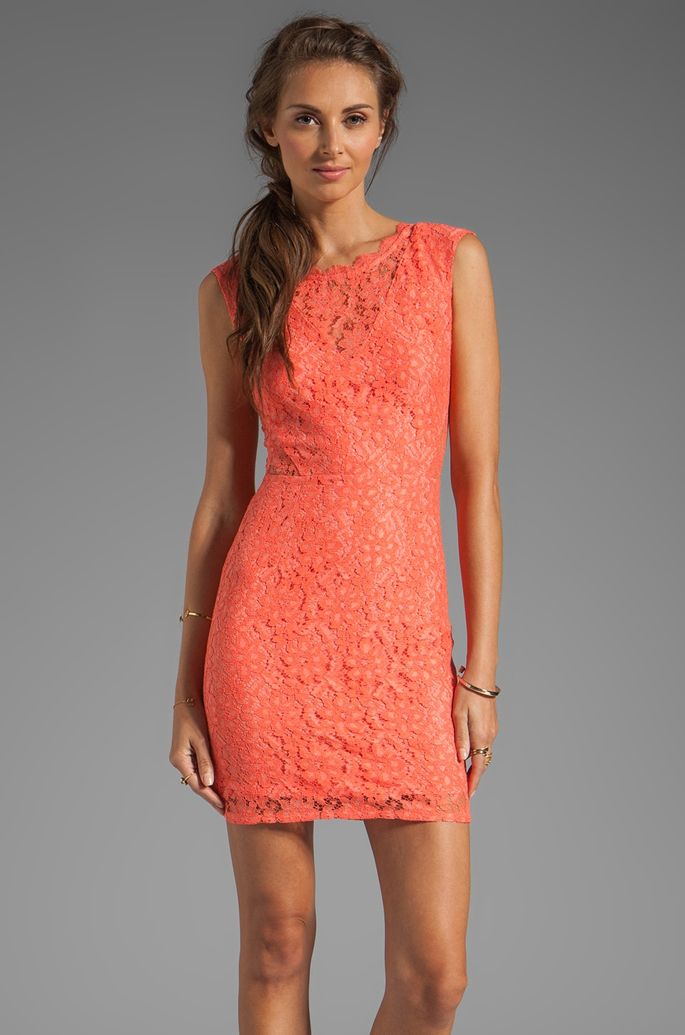 Dolce Vita Trouble Neon Lace Dress in Melon