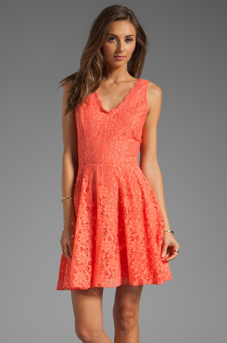 Dolce Vita Thereza Neon Lace Mini Dress in Melon