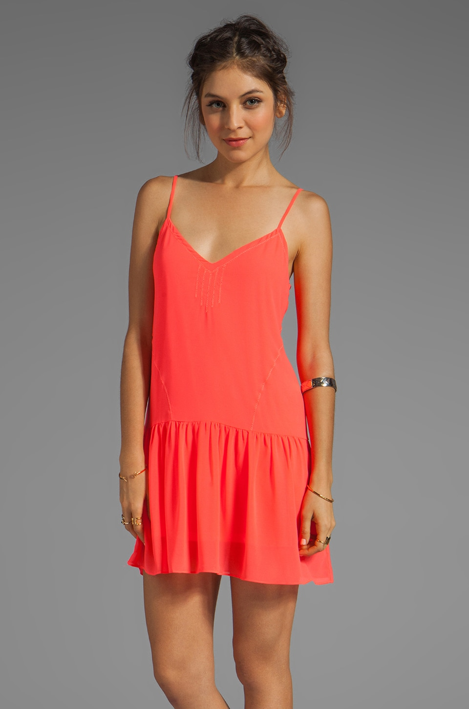 Dolce Vita Tinsel Beach Bali Mini Dress in Hot Coral