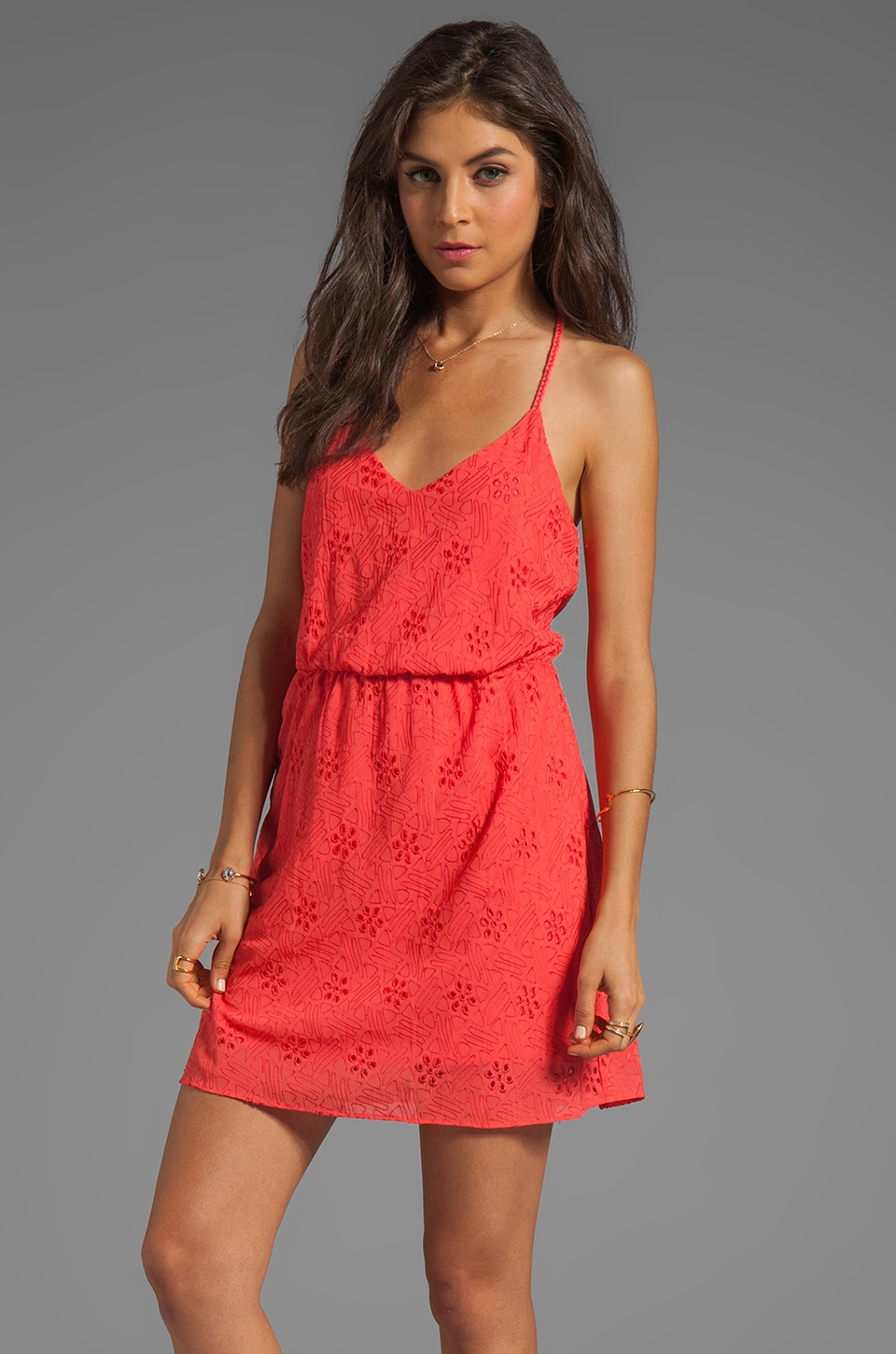 Dolce Vita Darah Eyelet Embroidery Mini Dress in Coral