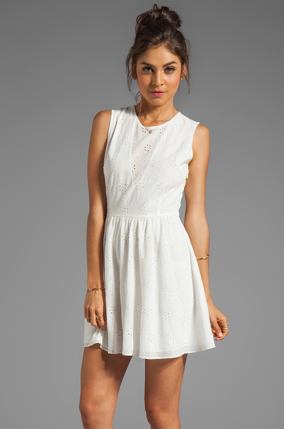 Dolce Vita Delyth Eyelet Embroidery Tank Dress in White