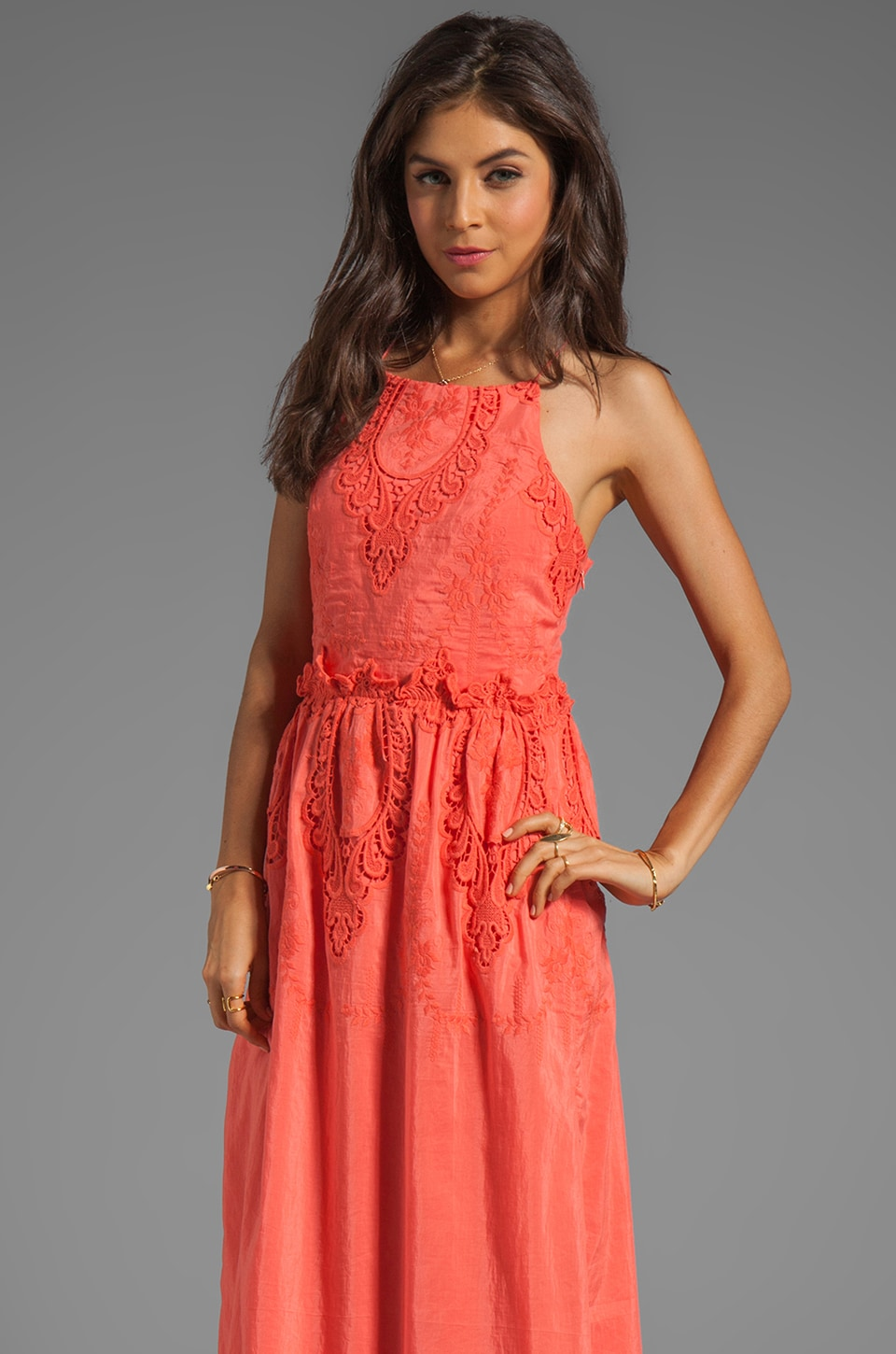 Dolce Vita Rayan Petticoat Embroidery Maxi Dress in Melon