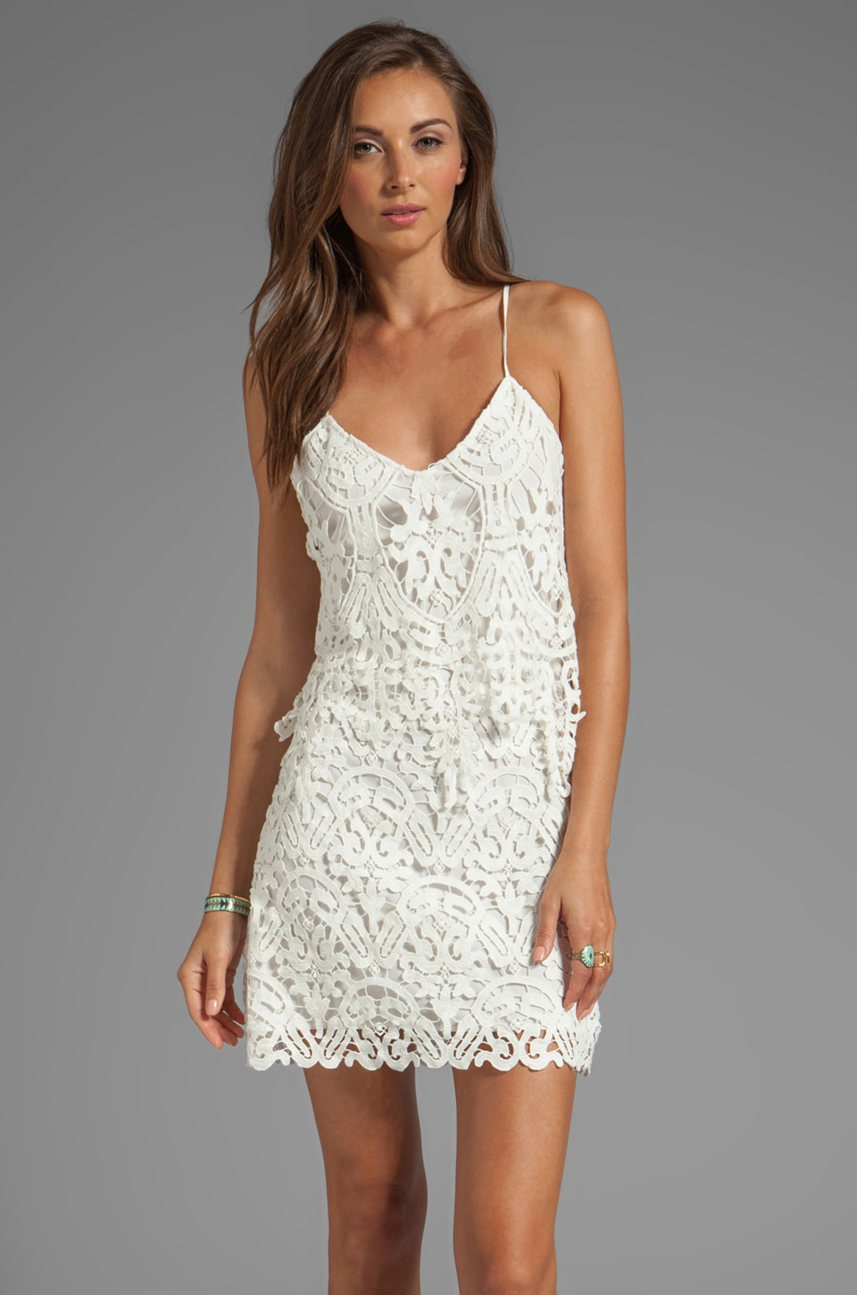 Dolce Vita Jordinna Charleston Lace Spaghetti Strap Dress in Snow