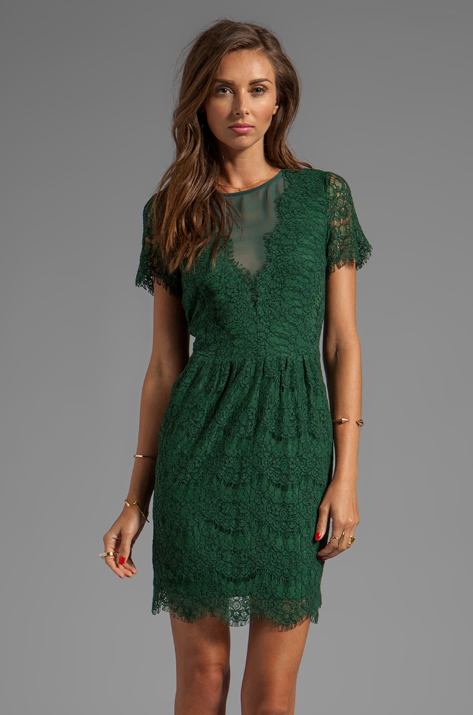 Dolce Vita Saurus Eyelash Lace Dress in Hunter