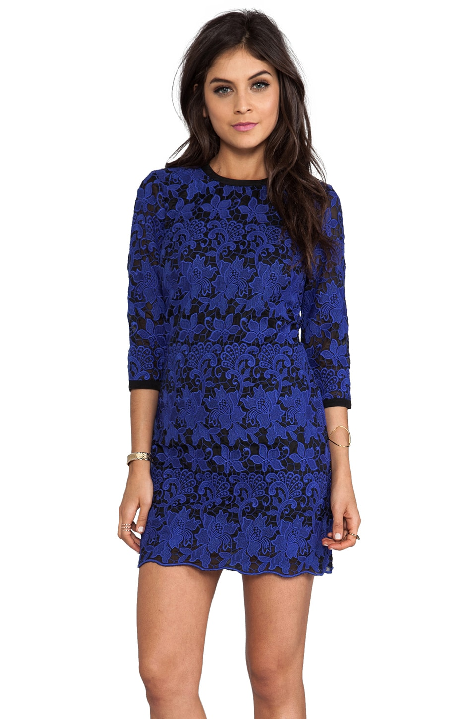 Dolce Vita Amita Pop Out Lace Dress in Blue/Black
