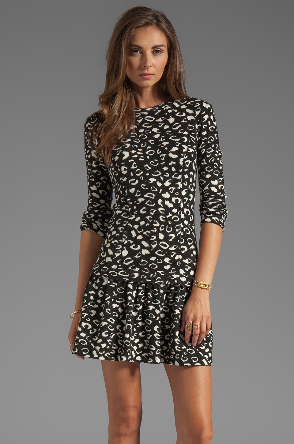 Dolce Vita Meko Leopard Knit Dot Dress in Black Print